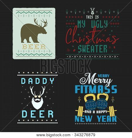 Funny Christmas Graphic Prints Set, T Shirt Designs For Ugly Sweater Xmas Party. Holiday Decor With