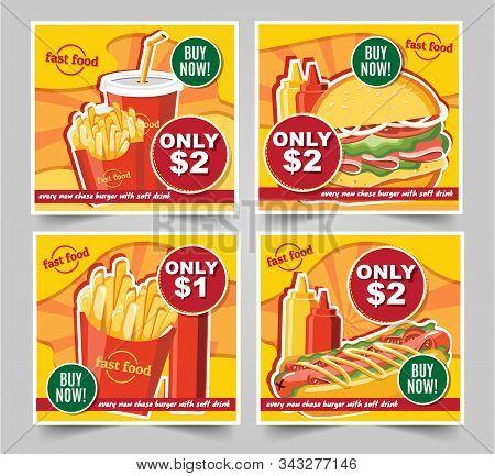 Fast Food Hamburger, Fast Food Meals Banners Tasty Set Fast Food Vector