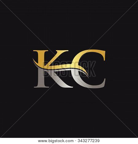 Initial Gold And Silver Letter Kc Logo Design With Black Background. Abstract Letter Kc Logo Design