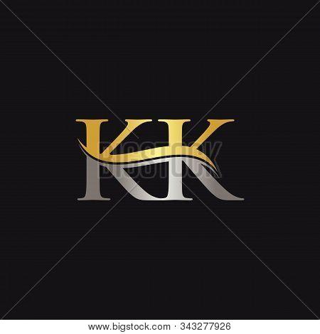 Initial Gold And Silver Letter Kk Logo Design With Black Background. Abstract Letter Kk Logo Design