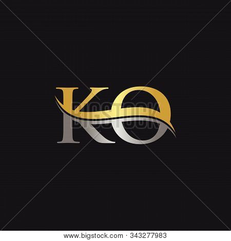 Initial Gold And Silver Letter Ko Logo Design With Black Background. Abstract Letter Ko Logo Design