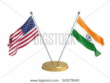 Flags Of The United States Of America And India On White Background. 3d Illustration.