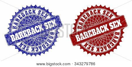 Rounded Bareback Sex Seal Stamps. Blue And Red Distress Seal Stamps With Bareback Sex Text Inside Ro