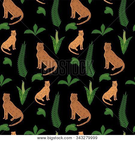 Pattern - Spotted Panthers, Cartoony, Leaves - Dark Background - Vector. Animal World