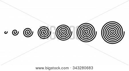 Development Of Linear Spirals Of Different Sizes. Archimedean Spirals Of Black Color, With Turnings