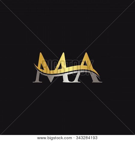 Initial Gold And Silver Letter Ma Logo Design With Black Background. Abstract Letter Ma Logo Design