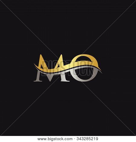 Initial Gold And Silver Letter Mo Logo Design With Black Background. Abstract Letter Mo Logo Design