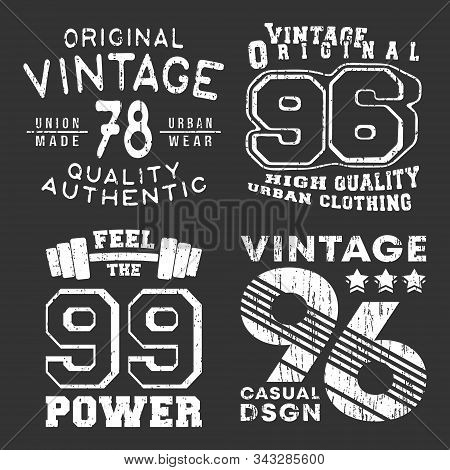 Set Of Vintage T-shirt Print Stamp For T Shirt Applique, Tee Badge, Label, Clothing Tag, Jeans, And