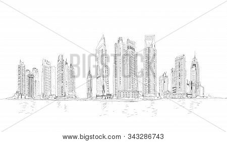 Illustration Of The Dubai Skyline: Skyscrapers Of The Dubai Marina Dubai Panoramic View With Skyscra