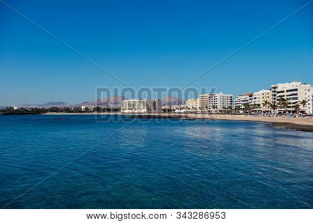 Arrecife, Lanzarote, Spain - December 27, 2019: Coastline Of Arrecife The Capital Of Lanzarote Spain