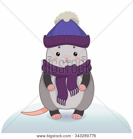 Winter Vector Illustration With Cartoon Animal Character Isolated On White Background. Cute Happy Po