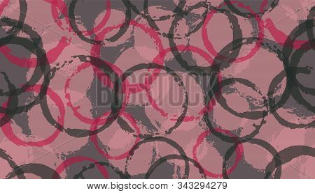 Funky Watercolor Circles Geometry Fabric Print. Circular Splotch Overlapping Elements Vector Seamles