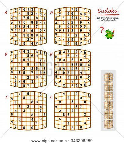 Set Of Funny Sudoku Puzzles. 3 Difficulty Levels. Logic Game For Children And Adults. Printable Page