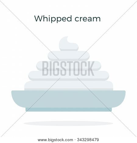 Whipped Cream On A Plate Vector Flat Isolated