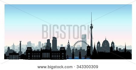 Berlin City Buildings Silhouette. German Urban Landscape. Berlin Cityscape With Landmarks. Travel Ge