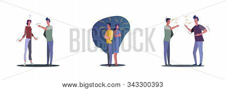 Set Of Young People Quarreling. Flat Vector Illustrations Of Relationship Problems With Unhappy Coup