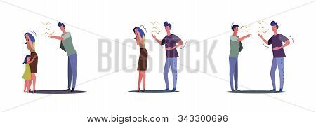 Collection Of Quarrelling Married Couples And Friends. Flat Vector Illustrations Of Relationship Pro