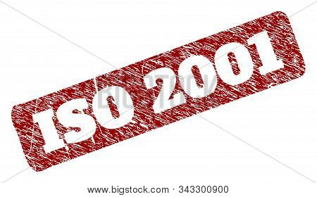Flat Vector Iso 2001 Watermark With Scratched Style. Rounded Rough Rectangle Seal. Red Scratched Sea