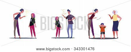 Set Of Families Quarrelling. Flat Vector Illustrations Of Parents Screaming On Children. Quarrel Con