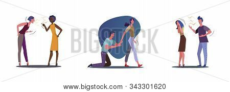 Set Of Unhappy Problem Couples. Flat Vector Illustrations Of People Breaking Up, Friends Quarreling.