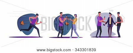 Set Of Robbers Committing Crimes. Flat Vector Illustrations Of Thieves Young Man, Stealing Purse, Ru