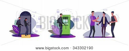 Set Of Burglars Committing Crimes. Flat Vector Illustrations Of Thieves Opening Door With Crowbar, R