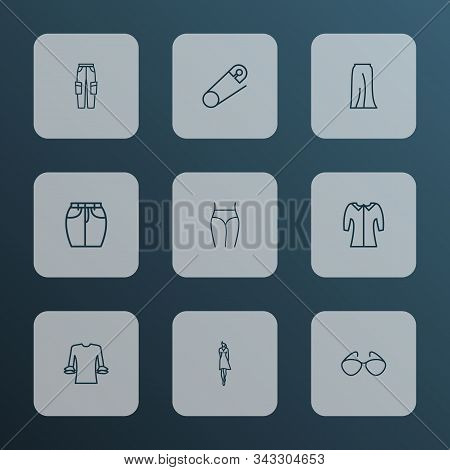 Fashionable Icons Line Style Set With Circular Flounce Shirt, Cargo Pants, Underpants And Other Eyeg