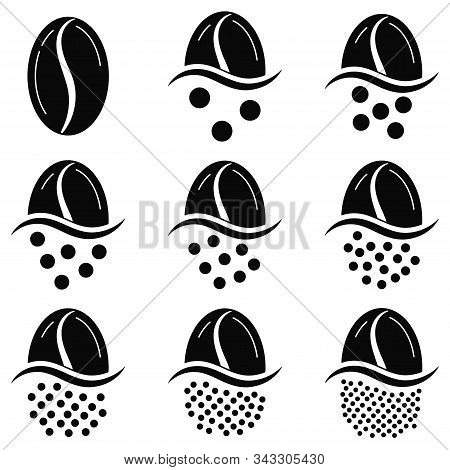 Coffee Grind Size Chart Grains Icon Set Isolated On White Background. Black And White Coffee Beans -