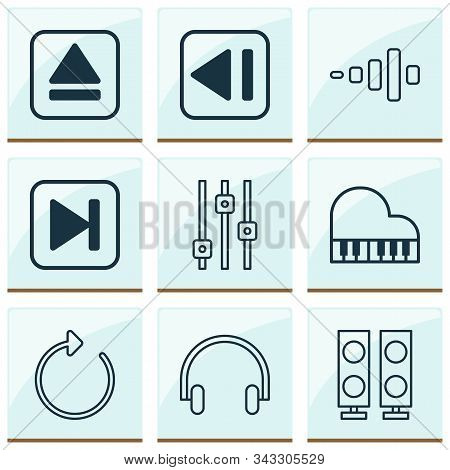 Multimedia Icons Set With Headphone, Fast Forward Song, Equalizer And Other Reload Elements. Isolate