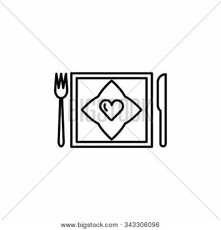 Dine, Diner Line Icon. Elements Of Valentines Day Illustration Icons. Signs, Symbols Can Be Used For