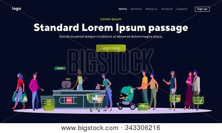 People With Groceries In Line To Cashier. Supermarket, Food, Basket Flat Vector Illustration. Shoppi