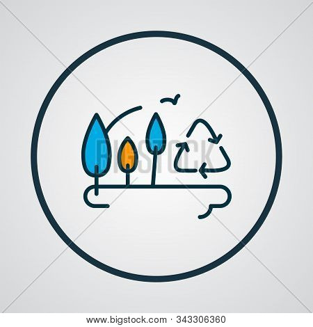 Afforestation Icon Colored Line Symbol. Premium Quality Isolated Botany Element In Trendy Style.