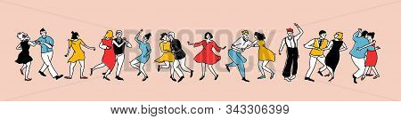 Crowd Of Dancing People In Vintage Style Dresses And Clothes. Swing Dance Horizontal Banner. Lindy H