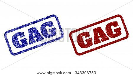 Rounded Rectangle Gag Seal Stamps. Blue And Red Scratched Stamps With Gag Caption Inside Rounded Rec