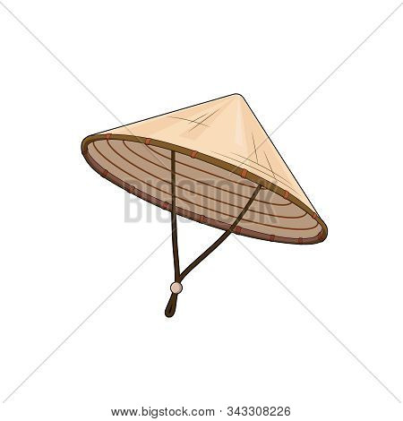 Chinese Or Vietnamese Triangle Hat. Bamboo Hat. Rice Hat. Vector Graphic Illustration. Isolated