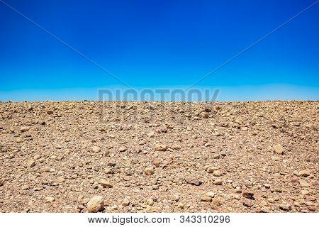 Minimalism Landscape Of Desert Wasteland Dry Stone Ground Nature Background Horizontal Board With Em