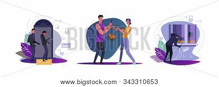 Set Of Thieves Trying To Rob Apartments. Flat Vector Illustrations Of Burglars Opening Door, Looking