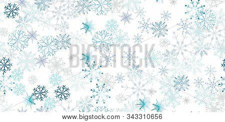 Gorizontal Card Celebrate Freezing Snowflakes Background. Christmas Print Fabric Wonderful Wrapping