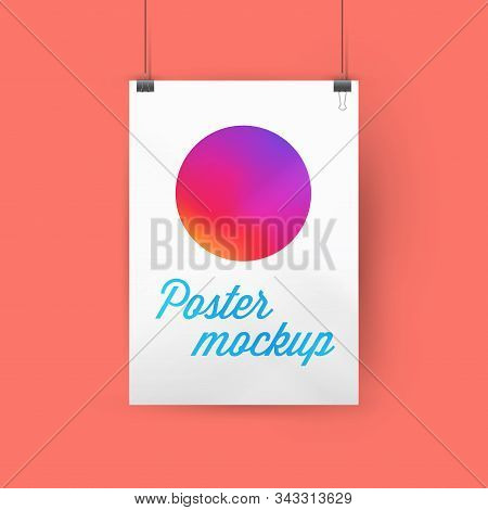 A4, A3 Or A2 Size Ratio Poster Mockup, Paper Frame Hanging With Paper Clips. Gradient Circle Templat