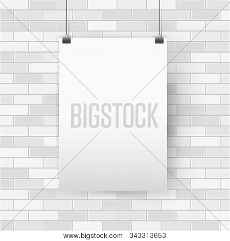 Blank Empty A4 Sized Vector Poster Mockup, Vertical Paper Frame Hanging With Paper Clips. White Bric