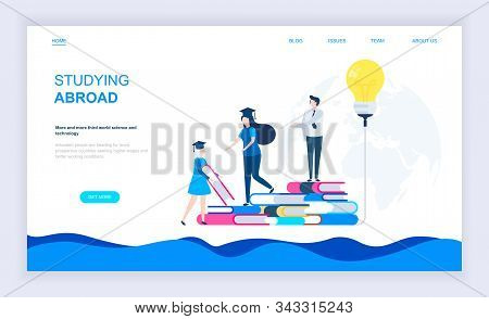 Modern Flat Design Concept Of Studying Abroad With Decorated Small People Character For Website And