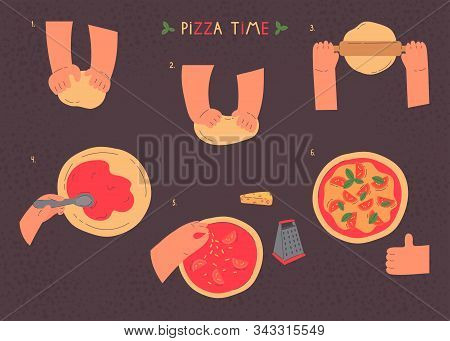 Hands Knead Dough And Making Pizza, Line Drawing Isolated Symbols For Bakery At Dark Background.stag