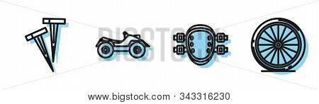 Set Line Knee Pads, Pegs For Tents, All Terrain Vehicle Or Atv Motorcycle And Bicycle Wheel Icon. Ve