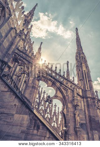 Milan Cathedral Closeup, Italy. Detail Of Luxury Decoration Of Roof. Famous Main Church Of Milan (du