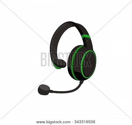 Customer Service Or Gamer Headset. Headphone With Microphone. Vector Graphic Illustration. Isolated