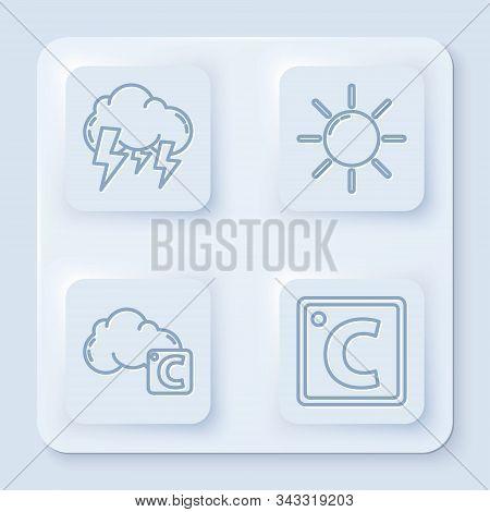 Set Line Storm, Sun, Celsius And Cloud And Celsius. White Square Button. Vector