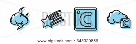 Set Line Celsius, Storm, Falling Star And Celsius And Cloud Icon. Vector