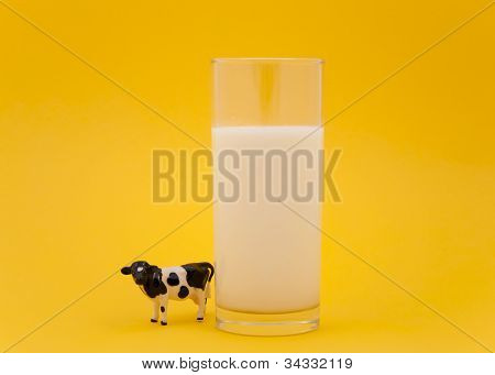 Toy cow and a glass of milk on yellow background