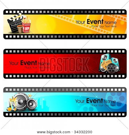 Movie website headers or banners set with full of entertainment and cinema objects. EPS 10.