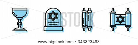 Set Line Torah Scroll, Jewish Goblet, Tombstone With Star Of David And Torah Scroll Icon. Vector